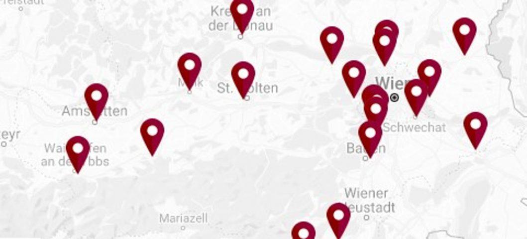 Österreichkarte Standorte Verkehrscoaching